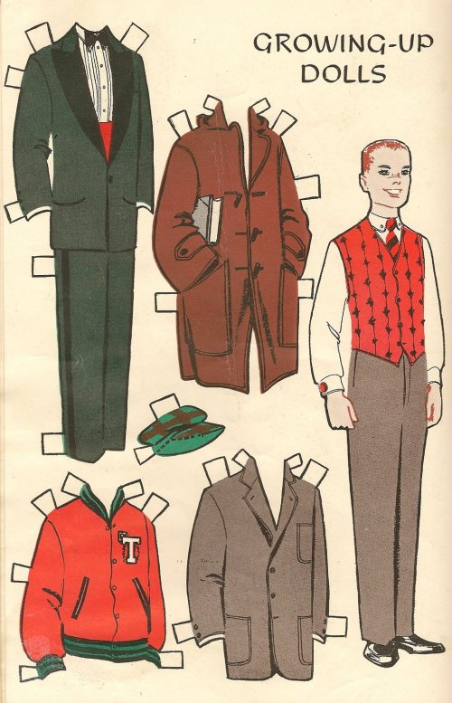 vintage menswear paper doll