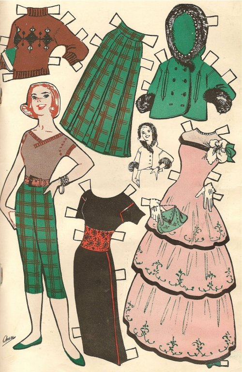 vintage womenswear fashion paper doll