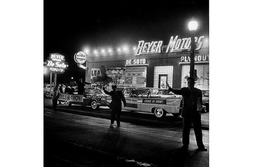 All Night Sale--  In an effort to overcome declining auto sales, one of the hardest hit sectors of the slump, the Beyer DeSoto dealership of St. Louis put its salesmen on duty for 64 hours straight, as part of a sell-a-thon that raised sales 73%.