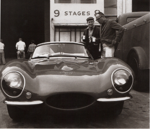 Steve McQueen showing director John Sturges his Jaguar XKSS on the MGM studio lot.