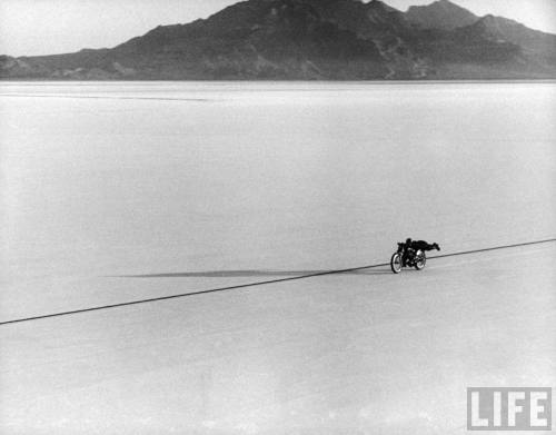 Roland Free breaking world's speed record on Bonneville Salt Flats --September, 1948.