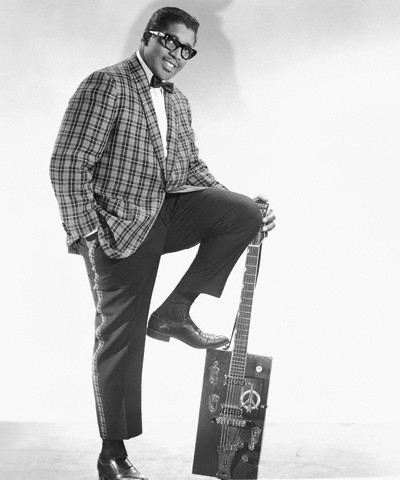 Bo Diddley and his signature gretsch guitar --late 1950s.