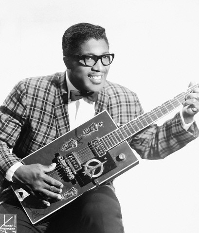 Bo Diddley in action on his signature Gretsch guitar --late 1950s.