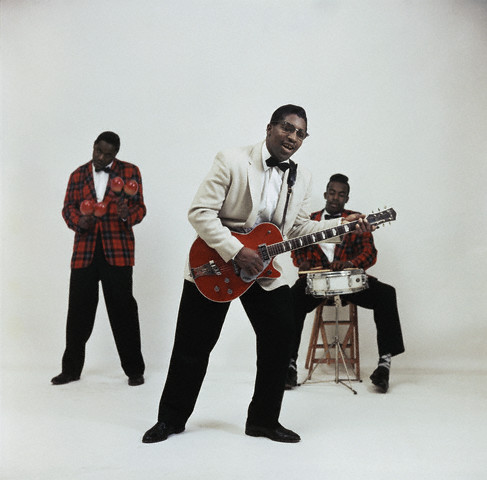 Bo Diddley on guitar with Jerome Green on the left playing maracas  --late 1950s,