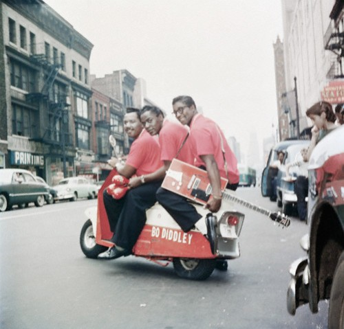 Jerome Green in the center, Bo Diddley on the rear of the scooter --1959.