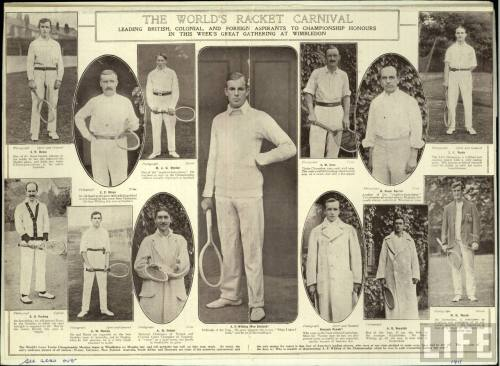 THE WORLD'S RACKET CARNIVAL.  Leading British, Colonial, and foreign aspirants to championship honours in this week's great gathering at Wimbledon.