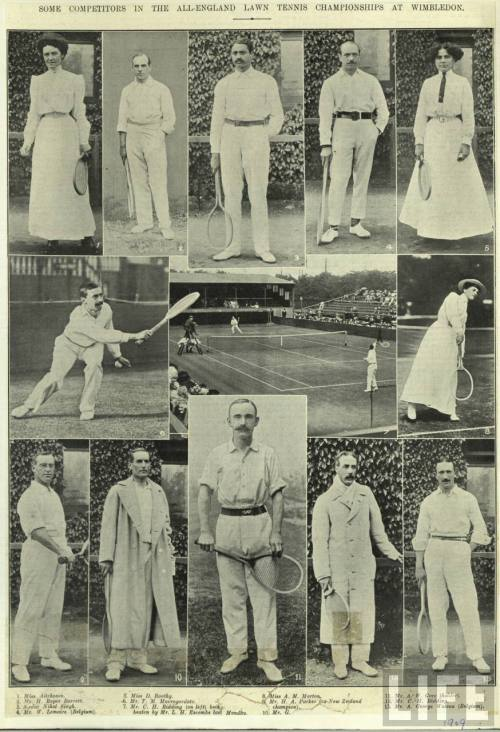 SOME COMPETITORS IN THE ALL-ENGLAND LAWN TENNIS CHAMPIONSHIPS AT WIMBLEDON.