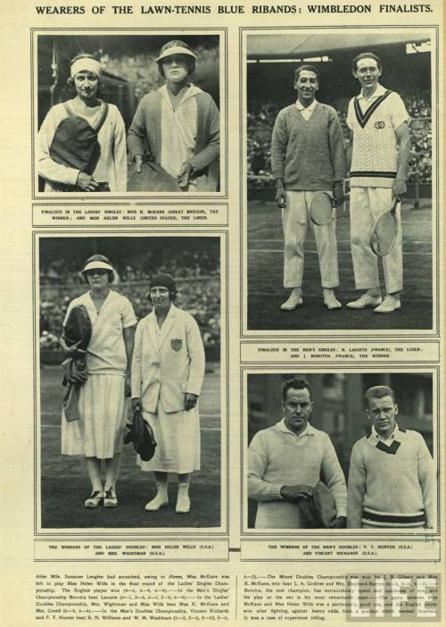 WEARERS OF THE LAWN-TENNIS BLUE RIBANDS: WIMBLEDON FINALISTS.  Rene Lacoste, top right.