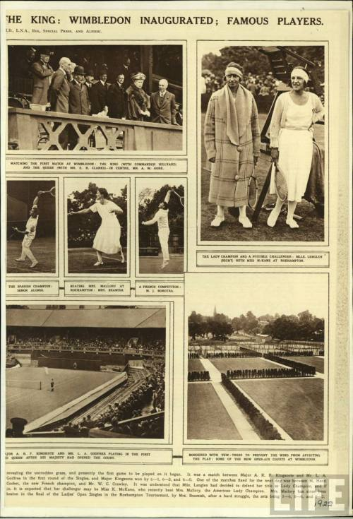 THE KING: WIMBLEDON INAUGURATED: FAMOUS PLAYERS.  Mlle. Suzanne Lenglen, top right.