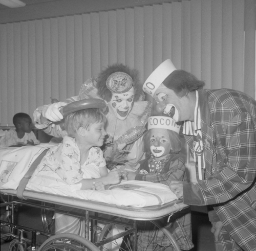 Ringling Bros. and Barnum & Bailey Circus clowns Coco and Bobby Kaye visiting a patient at Los Angeles Orthopedic Hospital --1970.